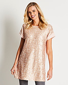 Blush Sequin Front Jersey Tunic