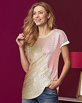 Gold/ Blush Colour Block Metallic Top