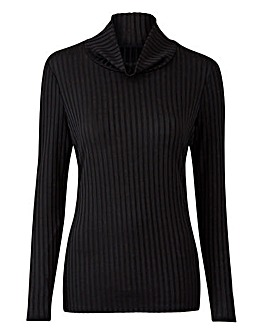 Black Rib Polo Neck Jersey Top