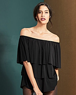 Black Ruffle Bardot Top