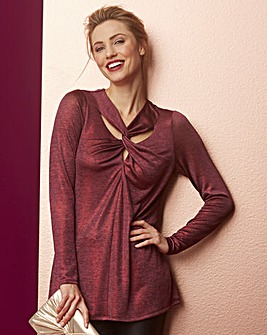 Wine Metallic Twist Neckline Tunic