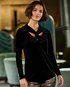 Black Velvet Twist Neckline Tunic