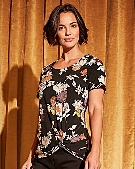 Black Floral Twist Knot Top