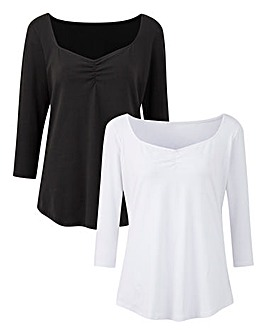 Pack of 2 Ruched Neck Tops