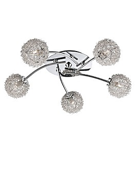 5-Light Chrome Flush Ceiling Light