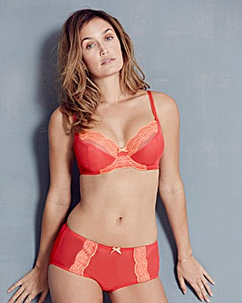 Embroidered Mesh Red/Orange Bra