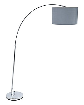 Arc Chrome Floor Lamp And Pleated Shade