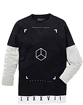 Label J Long Sleeve Longline Print Tee R