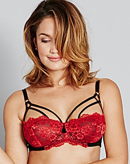 Simone Strappy Black/Red Balcony Bra