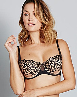 Ornamental Full Cup Black Bra