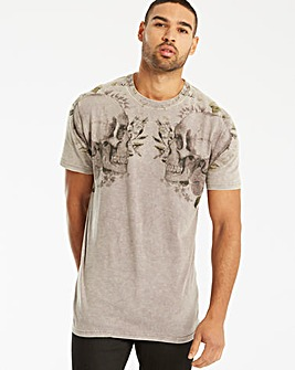 Label J Skull Acid Wash Slub T-Shirt L