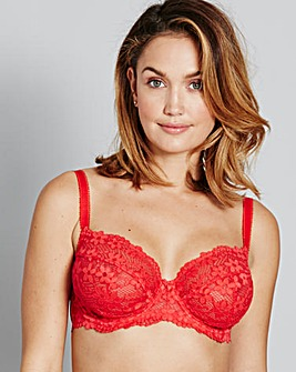 Daisy Lace Full Cup Red Bra