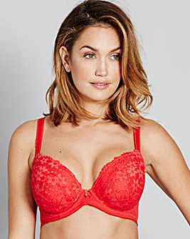 Daisy Lace Red Plunge Bra