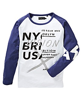 Label J Long Sleeve Print Raglan Tee L