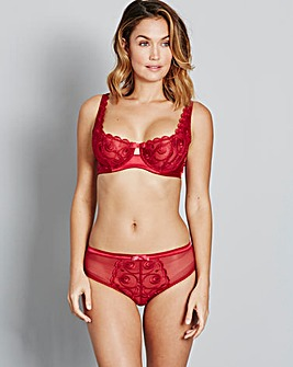Red Gina Embroidered Balcony Bra