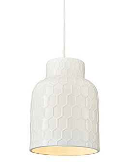 White Hexagon Ceramic Pendant