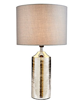 Chrome Ceramic Etched Table Lamp