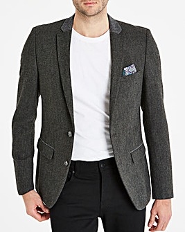 Black Label Grey Slim Mix Tweed Blazer L