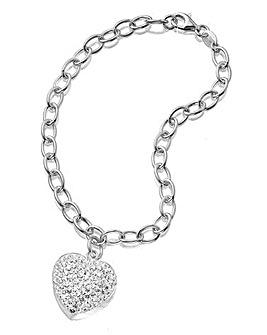 Crystal Glitz Silver Heart Bracelet