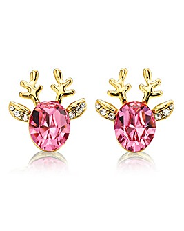 Reindeer Earrings Pink Swarovski Crystal