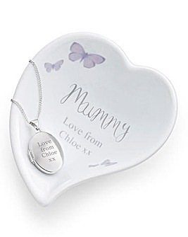 Personalised Oval Locket & Ring Dish