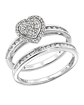 9Ct White Gold 1/4 Carat Heart Ring