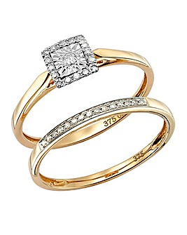 9 Carat Yellow Gold Two Piece Ring Set