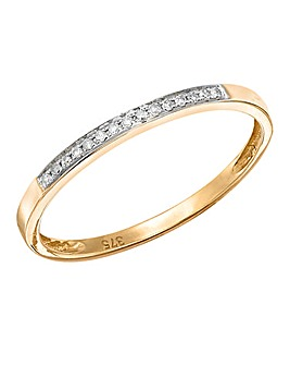 9 Carat Gold Diamond Set Millgrain Band