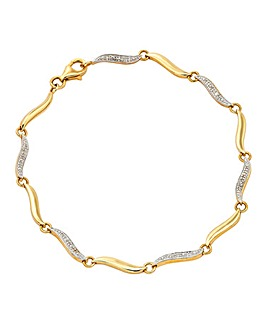 9 Carat Yellow Gold Diamond Bracelet