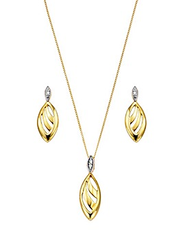Gold & Diamond Accent Pendant & Earrings