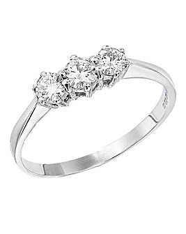 Moissanite Gold 1/2 Carat Trilogy Ring