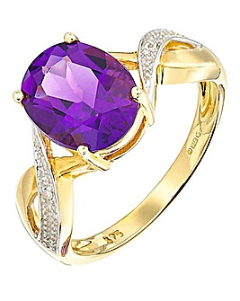 9 Carat Gold Amethyst Oval Ring
