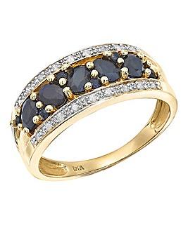 9 Carat Gold Sapphire Diamond Pave Band
