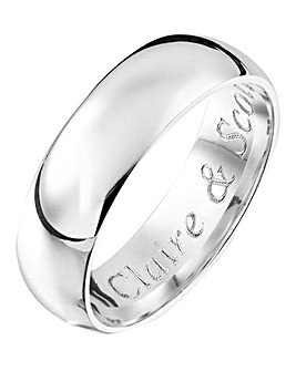 Personalised Silver Gents Band