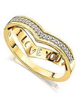 Yellow Rhodium Secret Message Ring