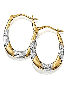 9 Carat Hollow Two-tone Hoop Earrings