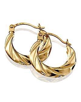 9 Carat Gold Hollow Small Hoop Earrings