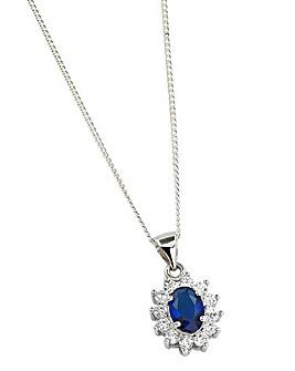 Silver Blue Cubic Zirconia Pendant