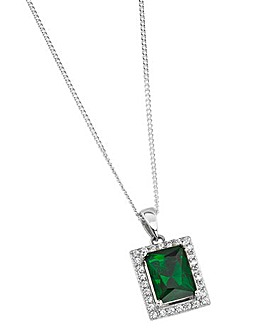 Sterling Silver Green CZ Pendant