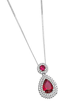 Sterling Silver Red CZ Pendant