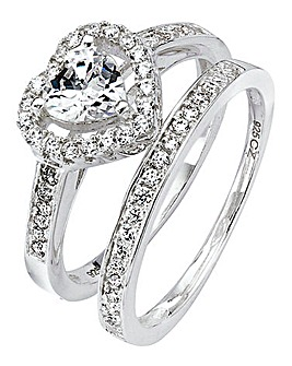 Cubic Zirconia Two-Piece Heart Ring Set