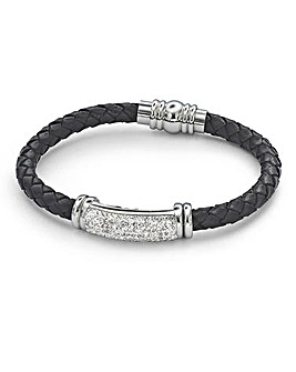 Leather and Crystal Gents Bracelet
