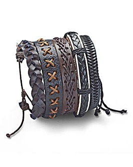 Set of Five Gents Leather Bracelets