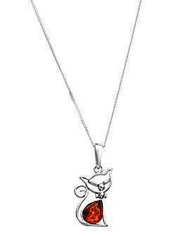Sterling Silver Amber Cat Pendant