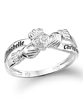 Silver Personalised Claddagh Ring