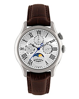 Rotary Gents Moonphase Leather Watch