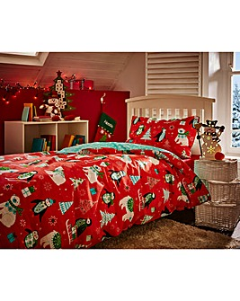 Frosty Friends Red Duvet Cover Set