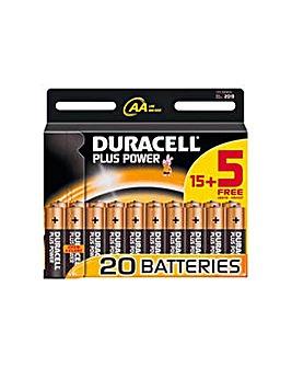 AA Alkaline Batteries 15 + 5 Free