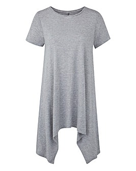 Grey Marl Hanky Hem Top