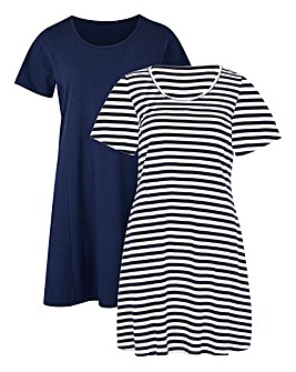 Navy/Stripe Pack 2 Swing Tunics